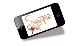 Synapse Medical's app logo for iPhone displayed on the screen of an iPhone 4S
